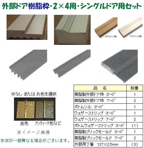 画像1: 外部ドア樹脂枠・2x4用・シングルドア用セット (1)